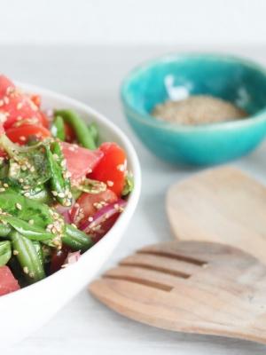Wassermelonensalat mit Bohnen