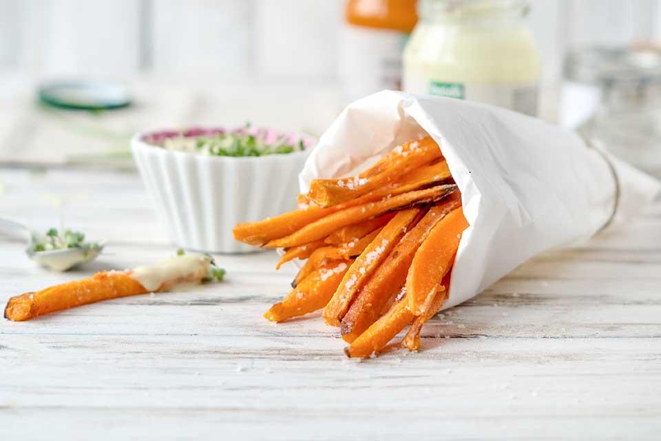 Wochenspeiseplan Süßkartoffelpommes