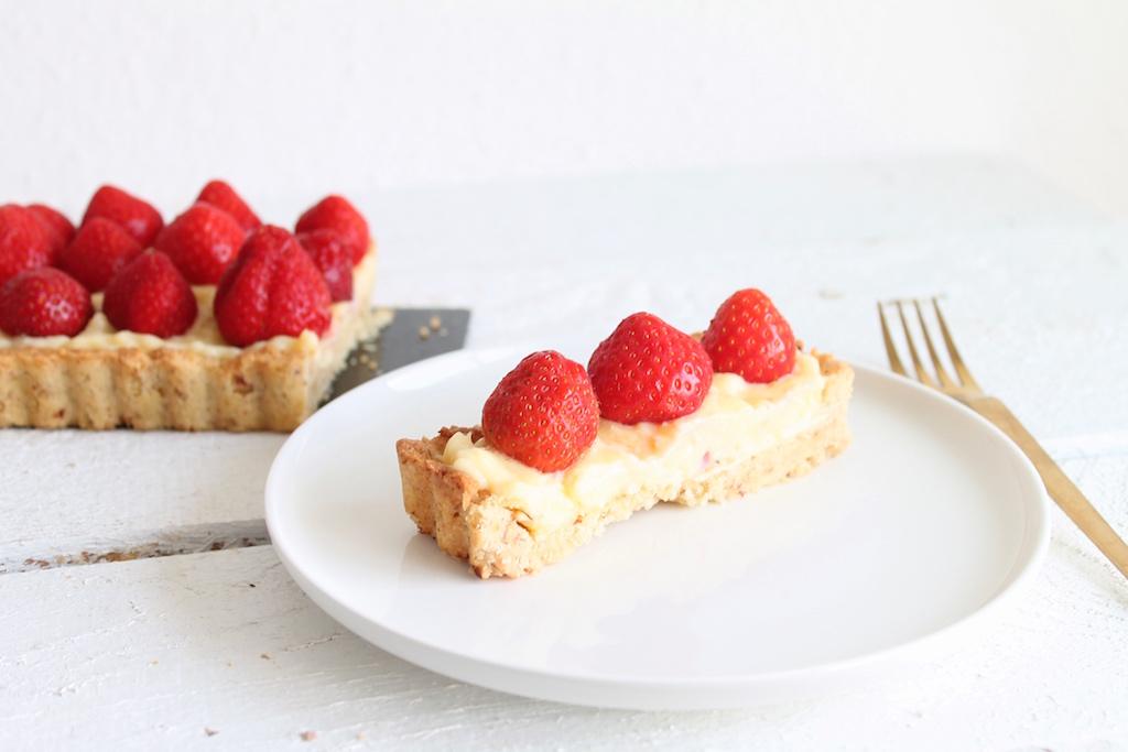 Erdbeertarte mit Pudding